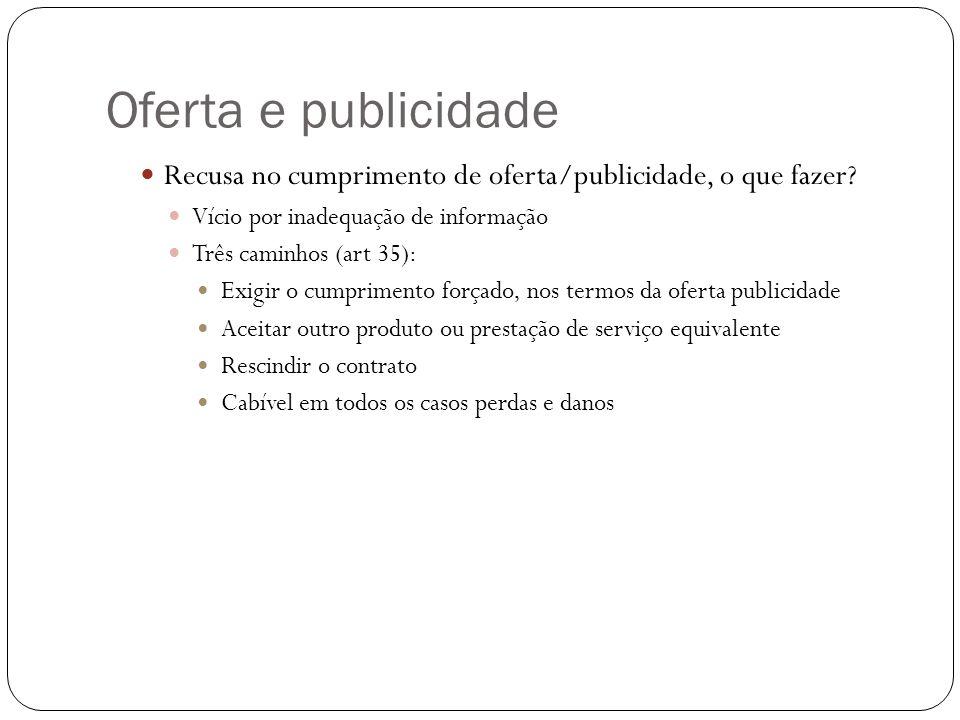 Oferta e publicidade Recusa no cumprimento de oferta/publicidade, o que fazer Vício por inadequação de informação.