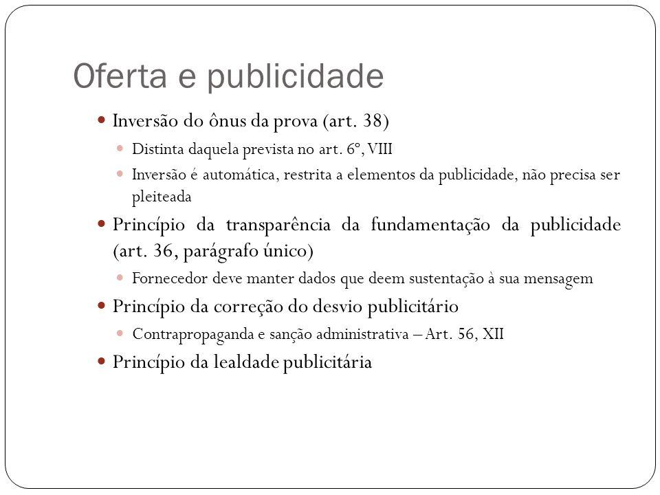 Oferta e publicidade Inversão do ônus da prova (art. 38)