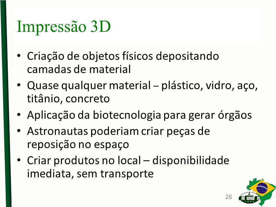 Impressão 3D Criação de objetos físicos depositando camadas de material. Quase qualquer material – plástico, vidro, aço, titânio, concreto.