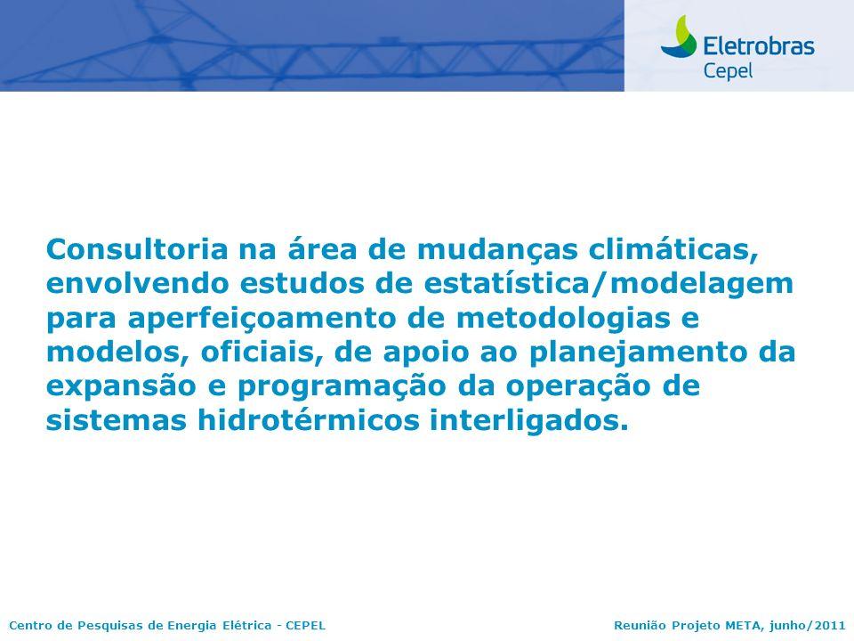 Consultoria na área de mudanças climáticas, envolvendo estudos de estatística/modelagem para aperfeiçoamento de metodologias e modelos, oficiais, de apoio ao planejamento da expansão e programação da operação de sistemas hidrotérmicos interligados.