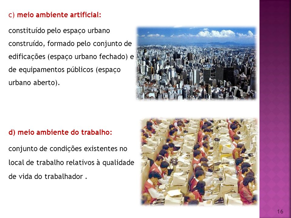 c) meio ambiente artificial: constituído pelo espaço urbano construído, formado pelo conjunto de edificações (espaço urbano fechado) e de equipamentos públicos (espaço urbano aberto).