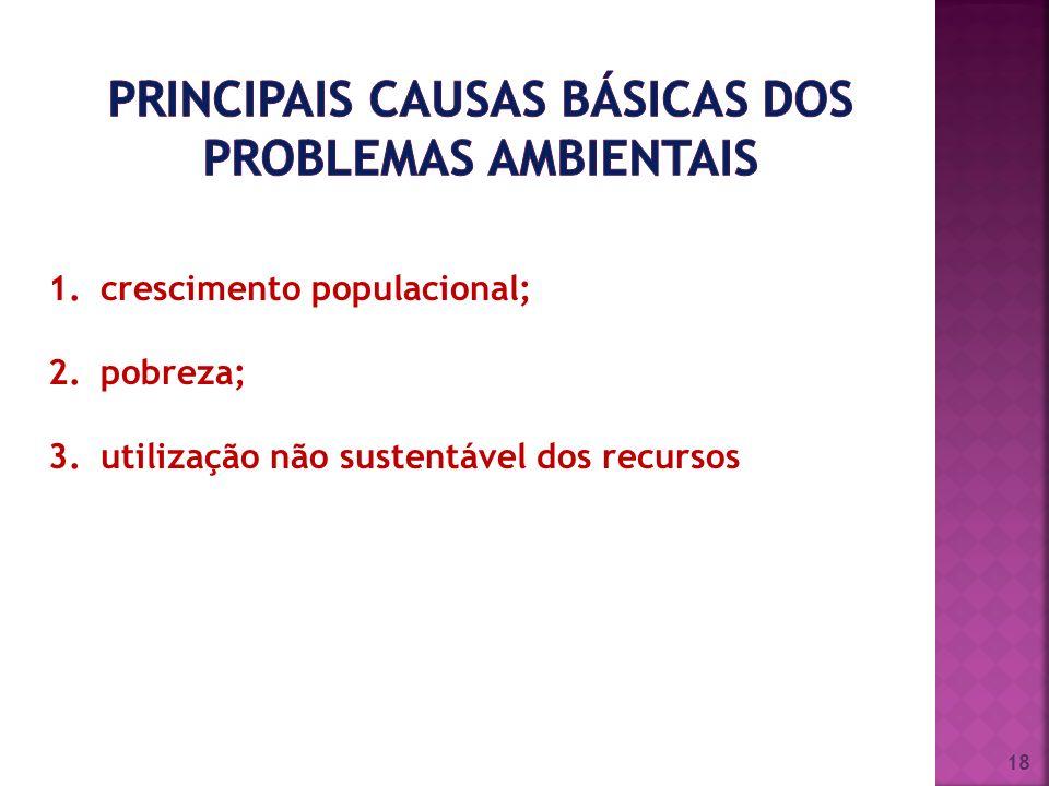 PRINCIPAIS causas básicas dos PROBLEMAS AMBIENTAIS