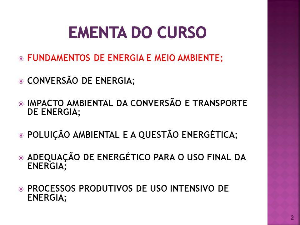 EMENTA DO CURSO FUNDAMENTOS DE ENERGIA E MEIO AMBIENTE;