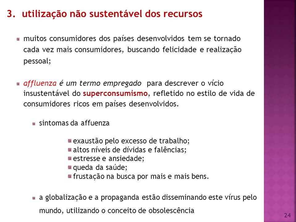 3. utilização não sustentável dos recursos