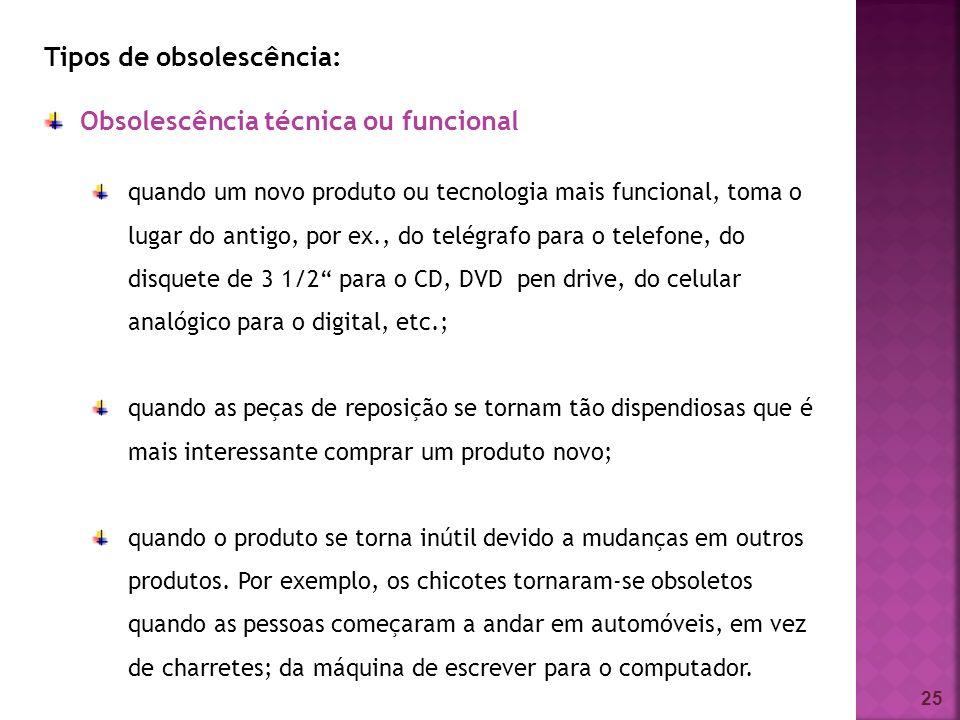 Tipos de obsolescência: Obsolescência técnica ou funcional