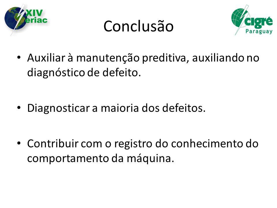 Conclusão Auxiliar à manutenção preditiva, auxiliando no diagnóstico de defeito. Diagnosticar a maioria dos defeitos.