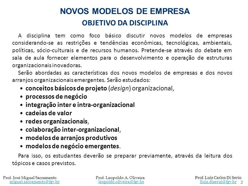 NOVOS MODELOS DE EMPRESA OBJETIVO DA DISCIPLINA