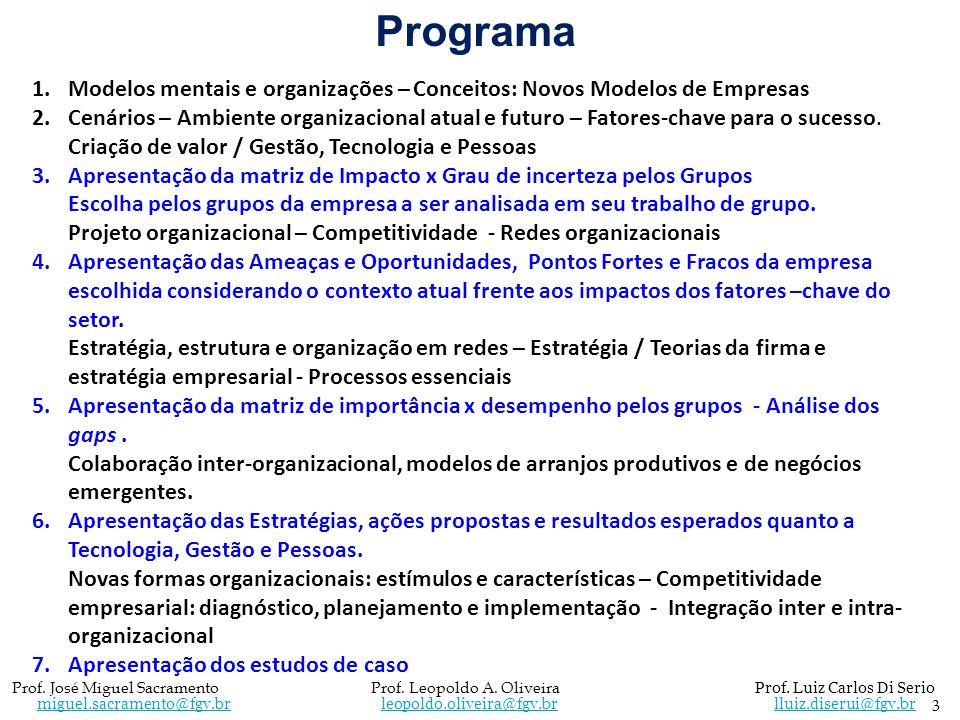 Programa Modelos mentais e organizações – Conceitos: Novos Modelos de Empresas.