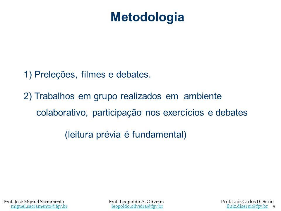 Metodologia 1) Preleções, filmes e debates.