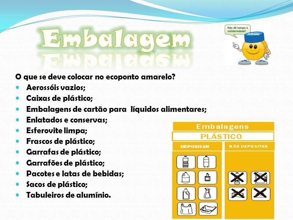 Embalagem O que se deve colocar no ecoponto amarelo Aerossóis vazios;
