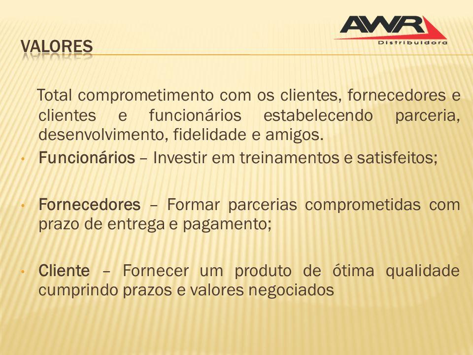 Valores Total comprometimento com os clientes, fornecedores e clientes e funcionários estabelecendo parceria, desenvolvimento, fidelidade e amigos.