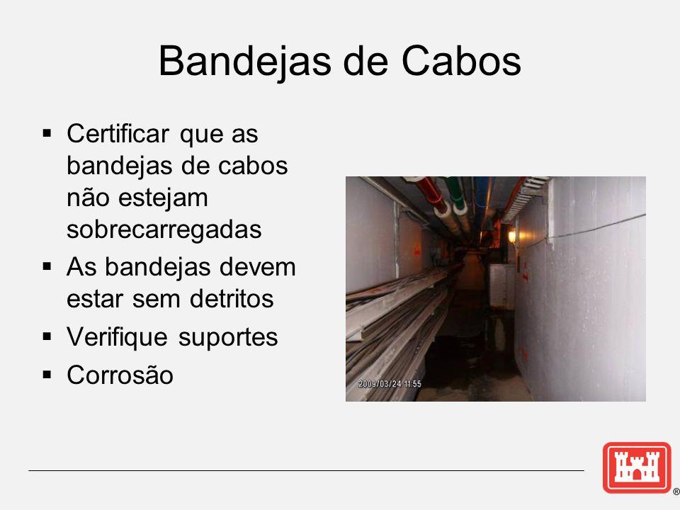 Bandejas de Cabos Certificar que as bandejas de cabos não estejam sobrecarregadas. As bandejas devem estar sem detritos.