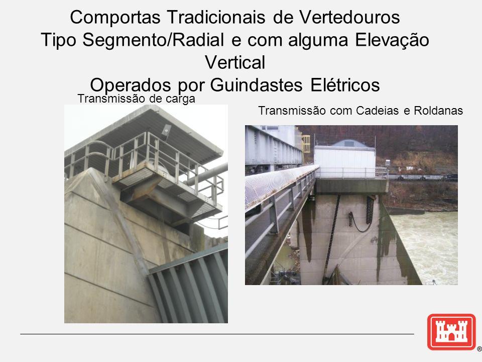 Comportas Tradicionais de Vertedouros Tipo Segmento/Radial e com alguma Elevação Vertical Operados por Guindastes Elétricos