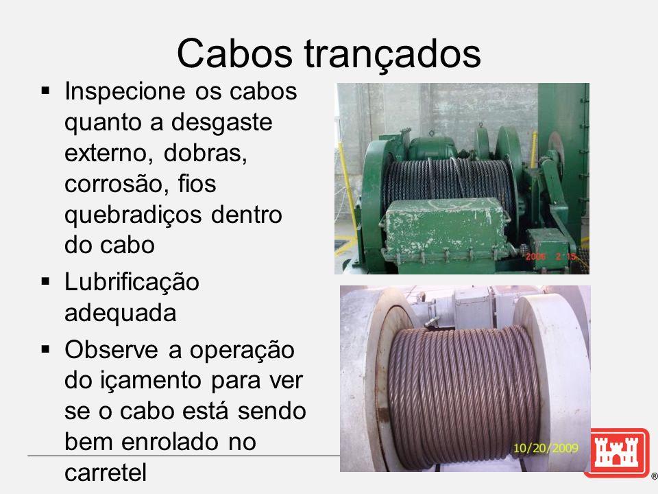 Cabos trançados Inspecione os cabos quanto a desgaste externo, dobras, corrosão, fios quebradiços dentro do cabo.