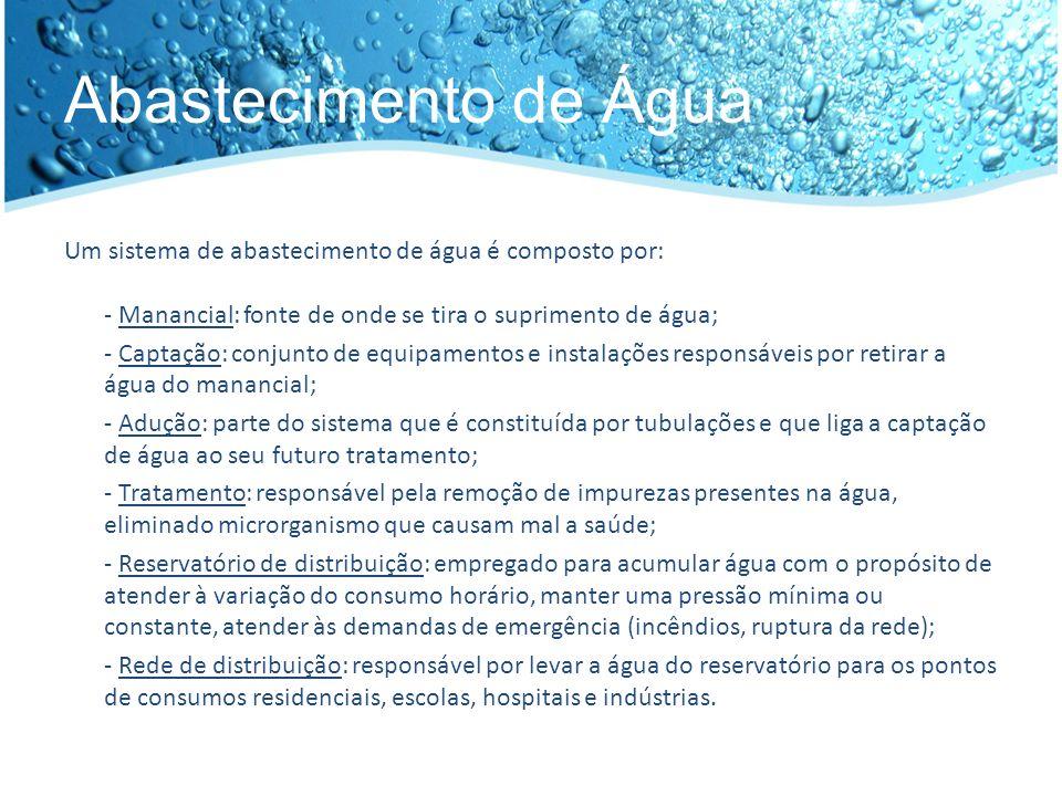 Abastecimento de Água Um sistema de abastecimento de água é composto por: - Manancial: fonte de onde se tira o suprimento de água;