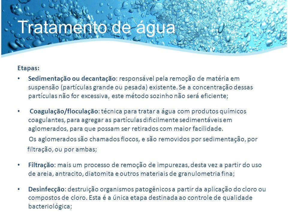 Tratamento de água Etapas: