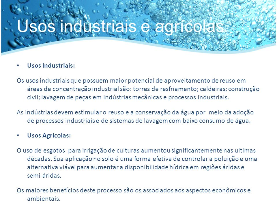 Usos industriais e agrícolas