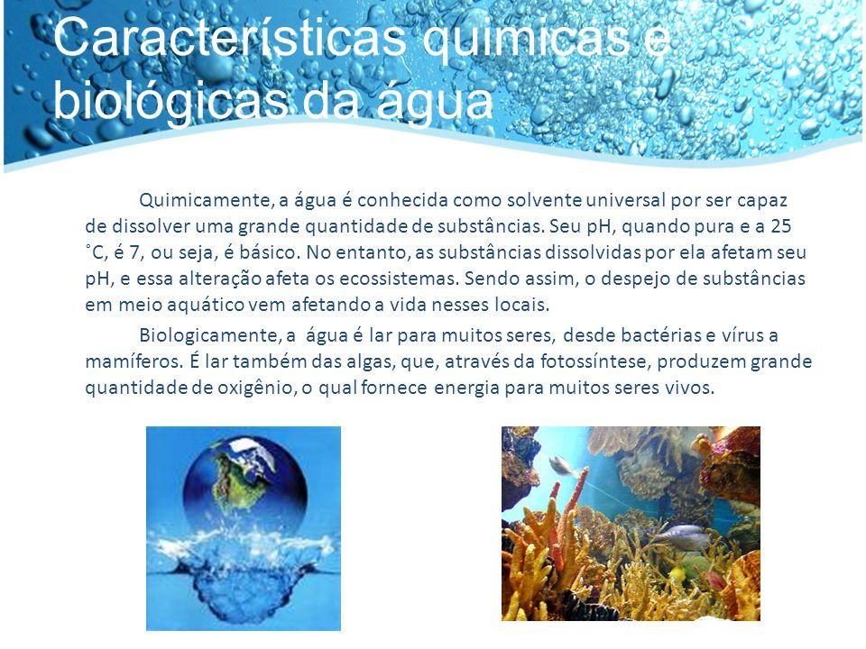 Características quimicas e biológicas da água