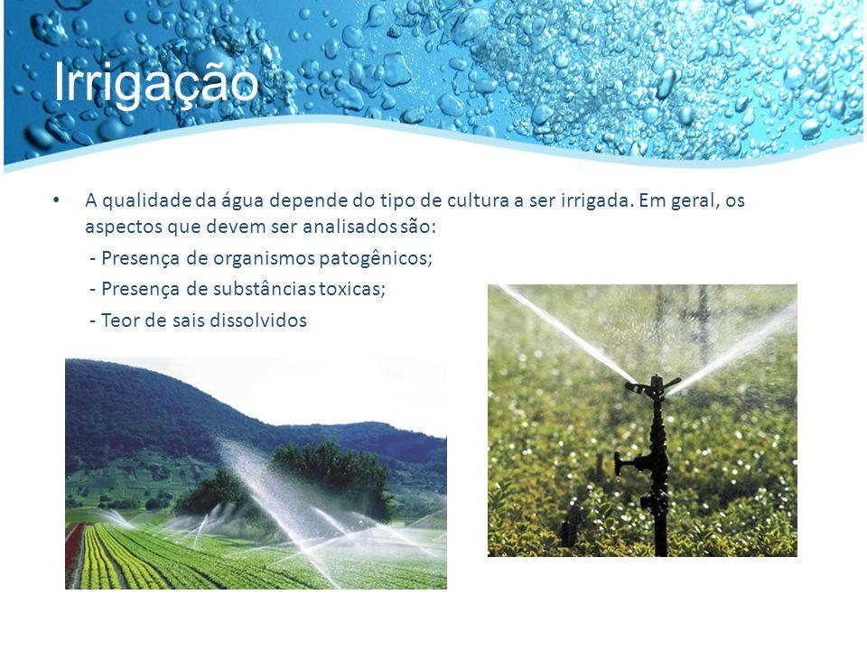 Irrigação A qualidade da água depende do tipo de cultura a ser irrigada. Em geral, os aspectos que devem ser analisados são: