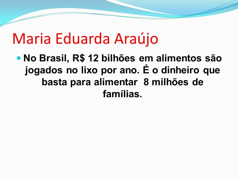 Maria Eduarda Araújo No Brasil, R$ 12 bilhões em alimentos são jogados no lixo por ano.