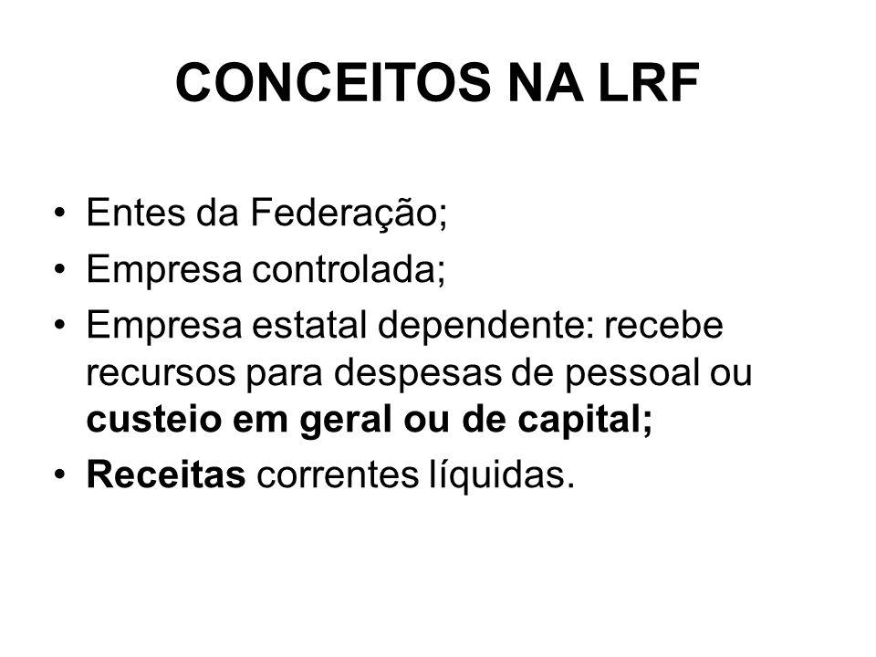 CONCEITOS NA LRF Entes da Federação; Empresa controlada;