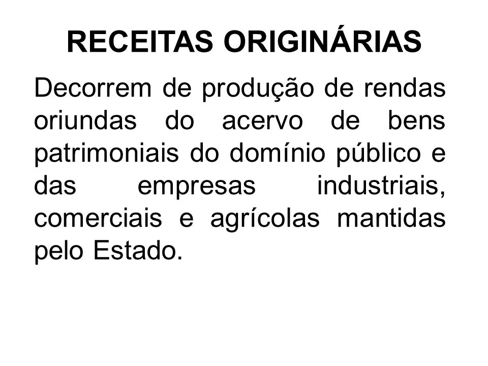RECEITAS ORIGINÁRIAS