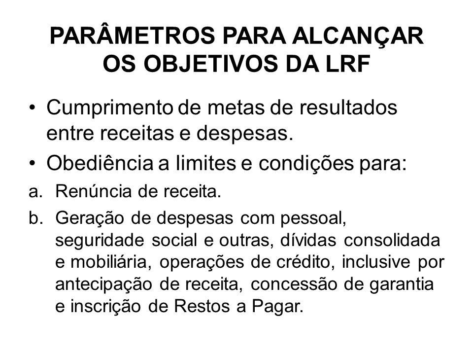 PARÂMETROS PARA ALCANÇAR OS OBJETIVOS DA LRF
