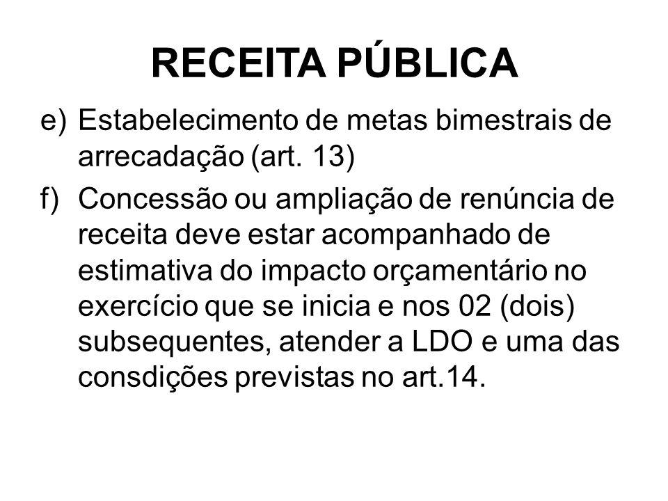 RECEITA PÚBLICA Estabelecimento de metas bimestrais de arrecadação (art. 13)