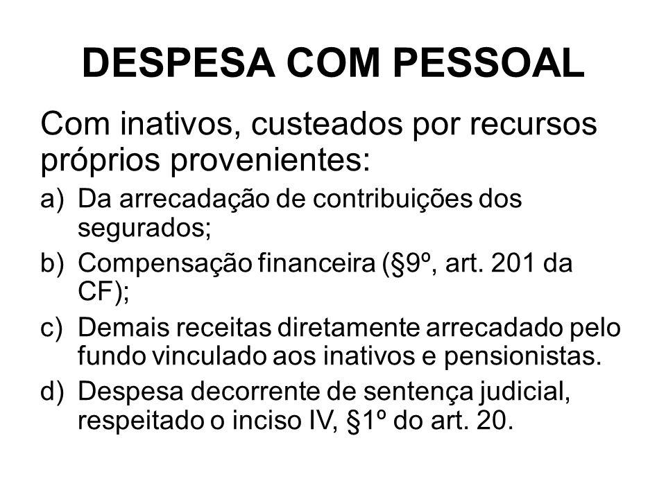 DESPESA COM PESSOAL Com inativos, custeados por recursos próprios provenientes: Da arrecadação de contribuições dos segurados;