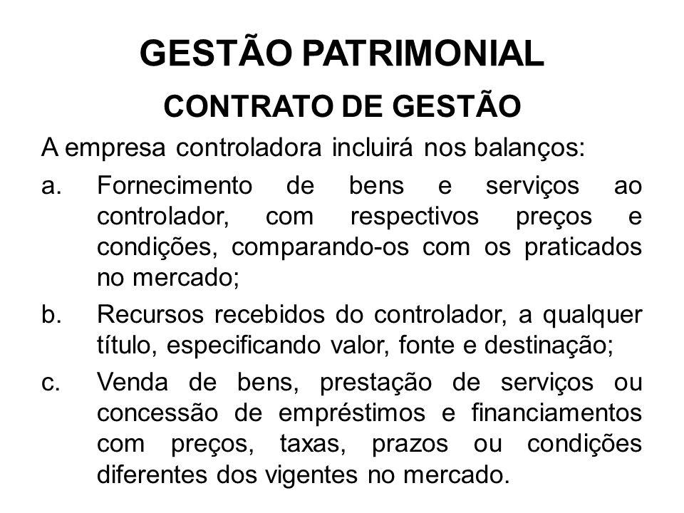 GESTÃO PATRIMONIAL CONTRATO DE GESTÃO