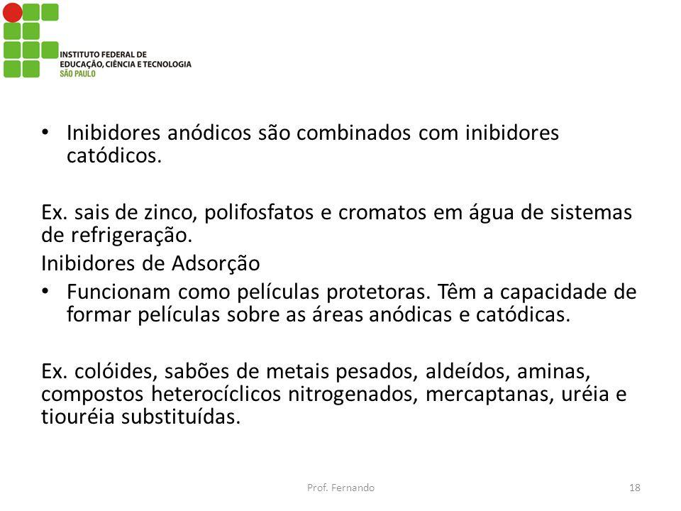 Inibidores anódicos são combinados com inibidores catódicos.