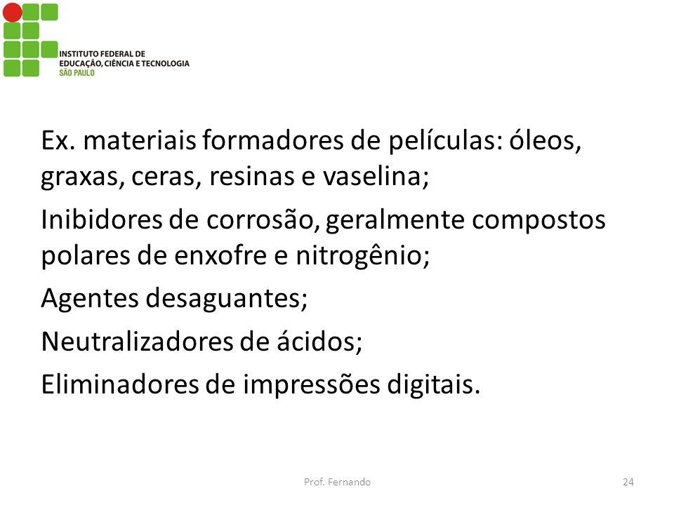 Neutralizadores de ácidos; Eliminadores de impressões digitais.