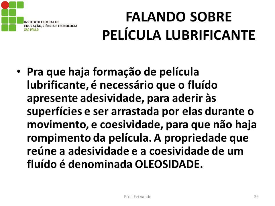 FALANDO SOBRE PELÍCULA LUBRIFICANTE