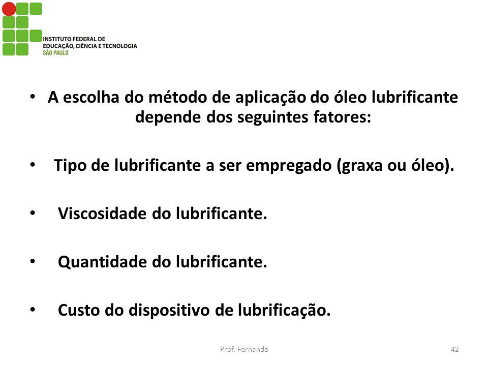 Tipo de lubrificante a ser empregado (graxa ou óleo).