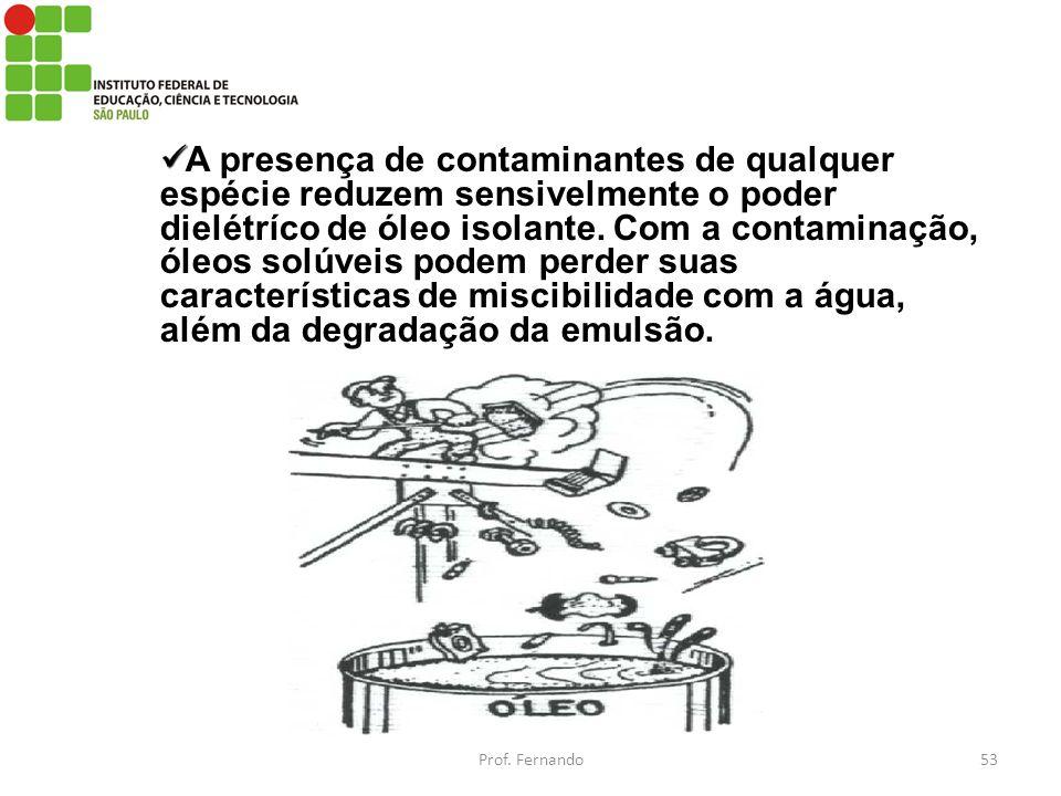 A presença de contaminantes de qualquer espécie reduzem sensivelmente o poder dielétríco de óleo isolante. Com a contaminação, óleos solúveis podem perder suas características de miscibilidade com a água, além da degradação da emulsão.
