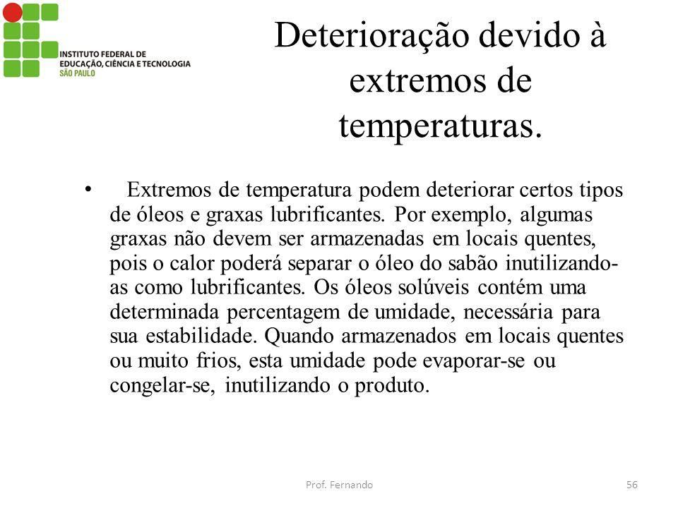 Deterioração devido à extremos de temperaturas.