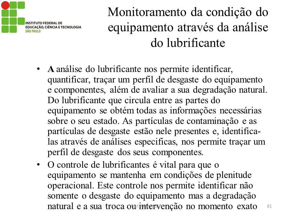 Monitoramento da condição do equipamento através da análise do lubrificante