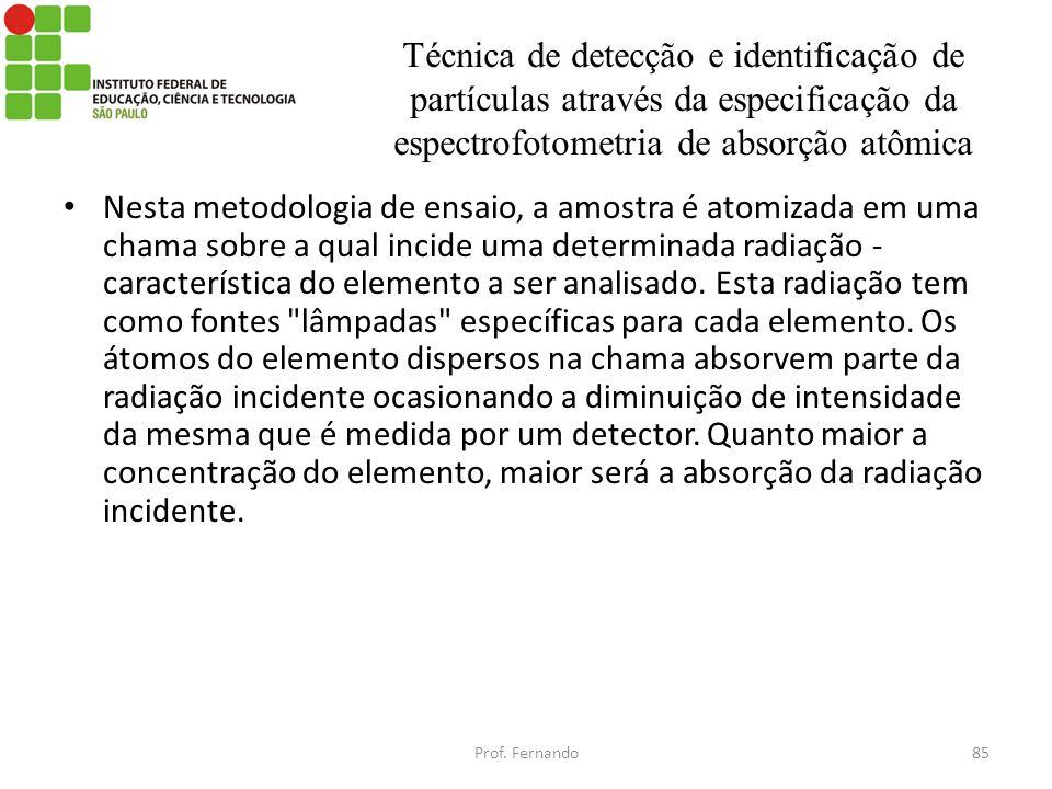Técnica de detecção e identificação de partículas através da especificação da espectrofotometria de absorção atômica