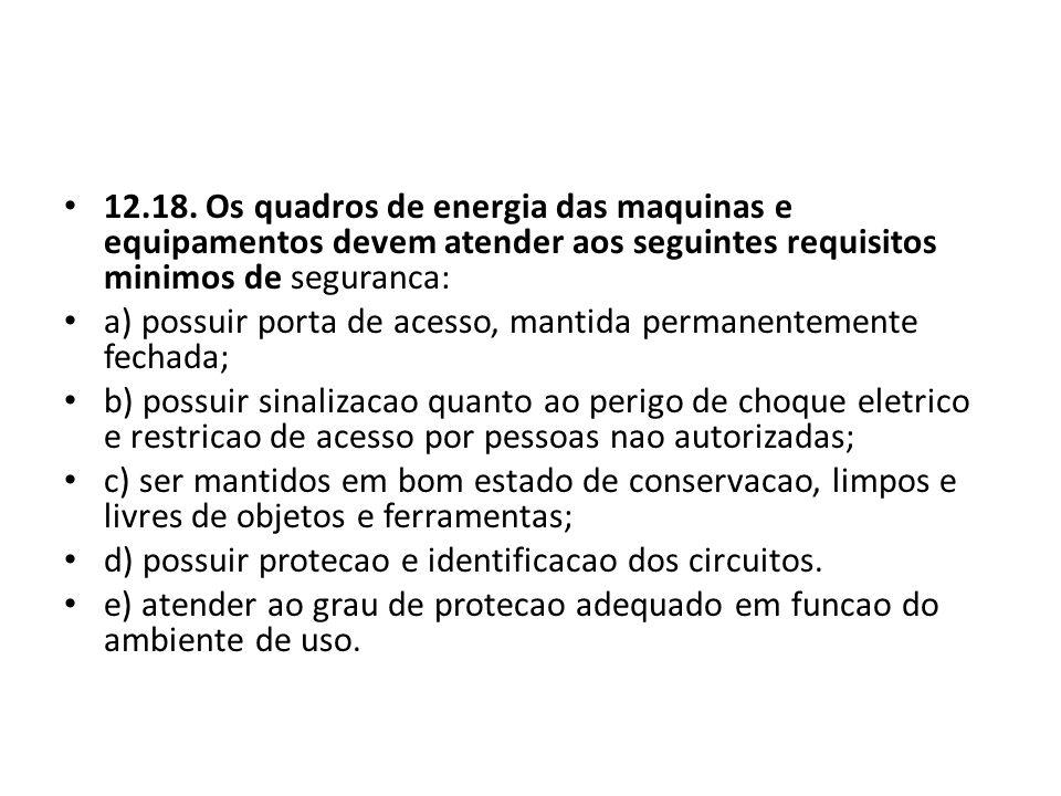12.18. Os quadros de energia das maquinas e equipamentos devem atender aos seguintes requisitos minimos de seguranca: