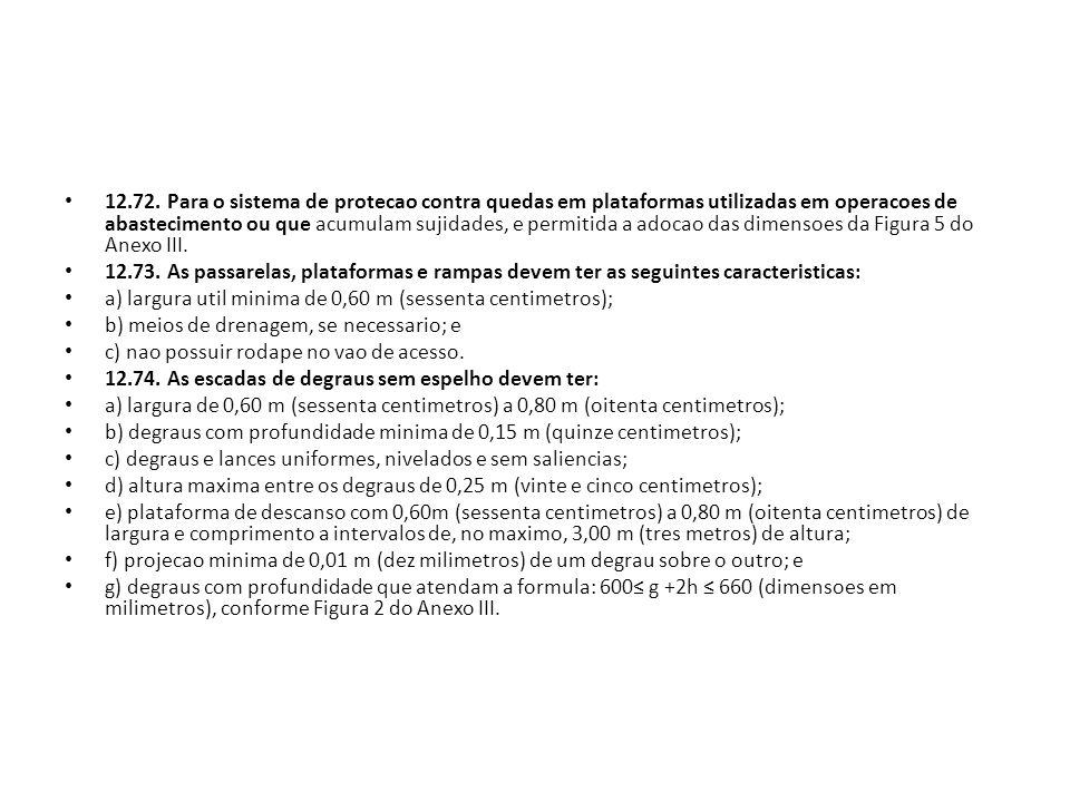 12.72. Para o sistema de protecao contra quedas em plataformas utilizadas em operacoes de abastecimento ou que acumulam sujidades, e permitida a adocao das dimensoes da Figura 5 do Anexo III.