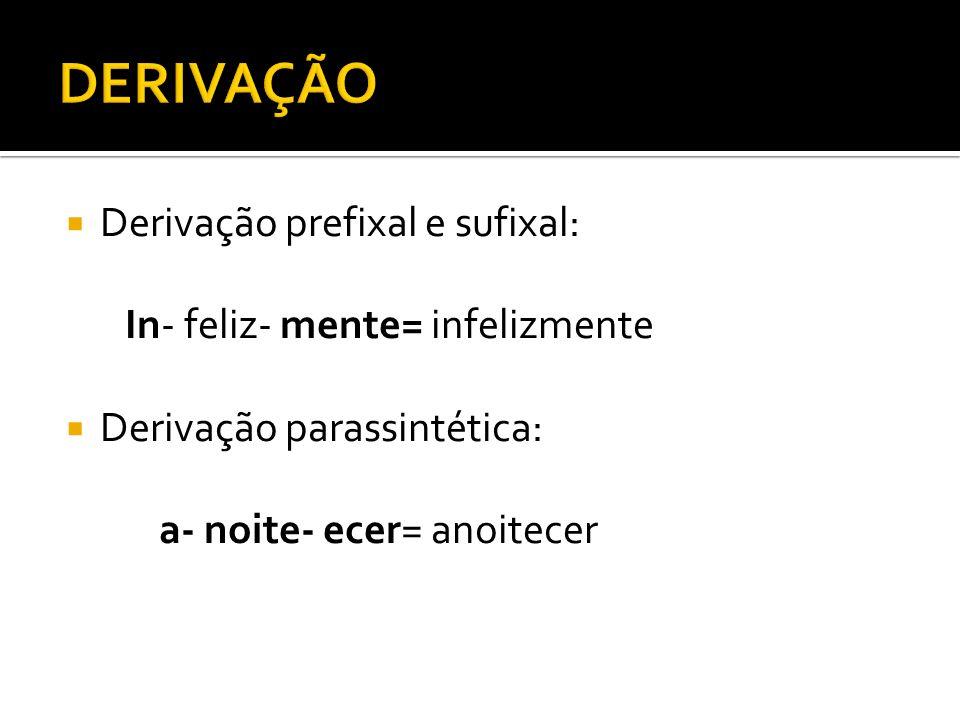 DERIVAÇÃO Derivação prefixal e sufixal: In- feliz- mente= infelizmente