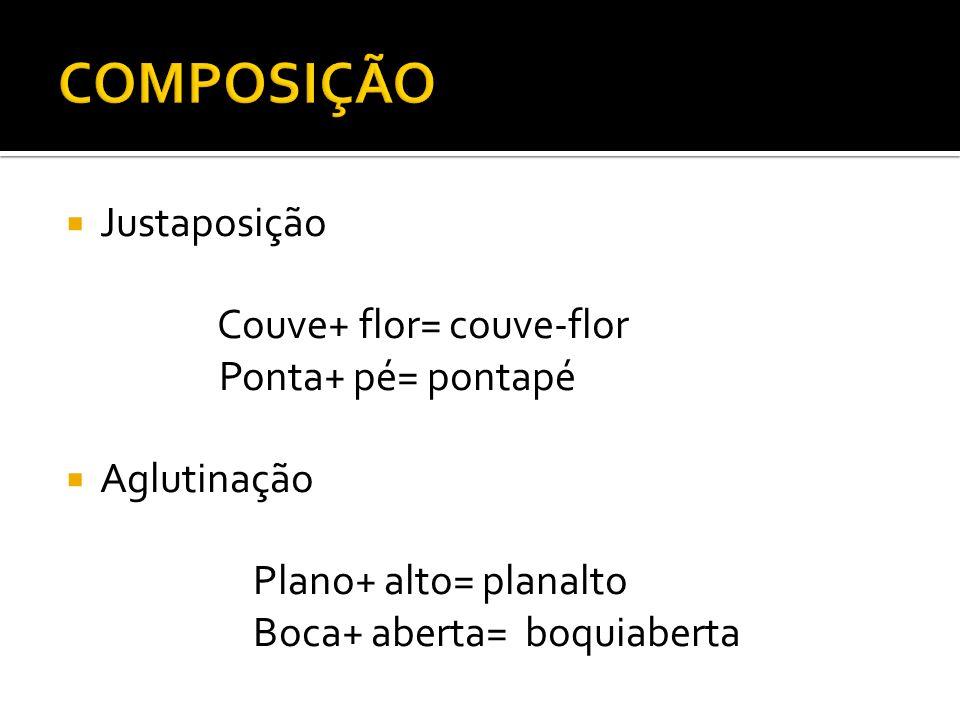COMPOSIÇÃO Justaposição Couve+ flor= couve-flor Ponta+ pé= pontapé