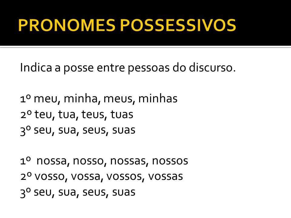 PRONOMES POSSESSIVOS Indica a posse entre pessoas do discurso.