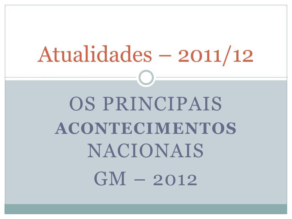 Os principais acontecimentos nacionais GM – 2012
