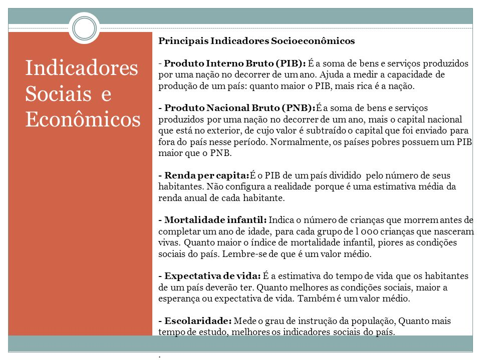 Indicadores Sociais e Econômicos