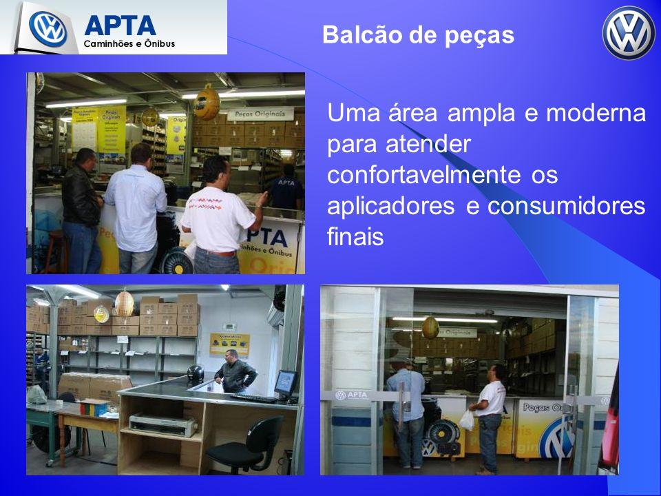 Balcão de peças Uma área ampla e moderna para atender confortavelmente os aplicadores e consumidores finais.