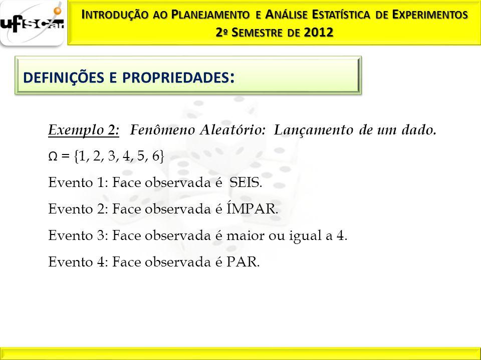 Exemplo 2: Fenômeno Aleatório: Lançamento de um dado.