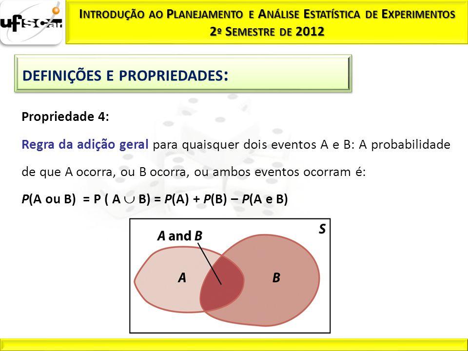 P(A ou B) = P ( A  B) = P(A) + P(B) – P(A e B)