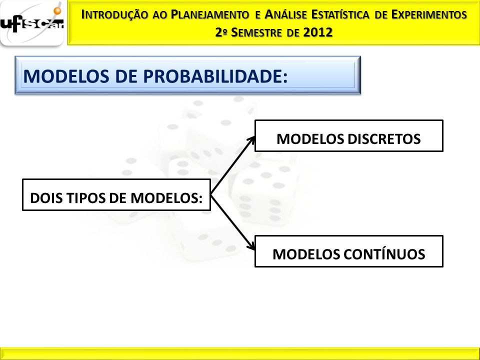 MODELOS DISCRETOS DOIS TIPOS DE MODELOS: MODELOS CONTÍNUOS