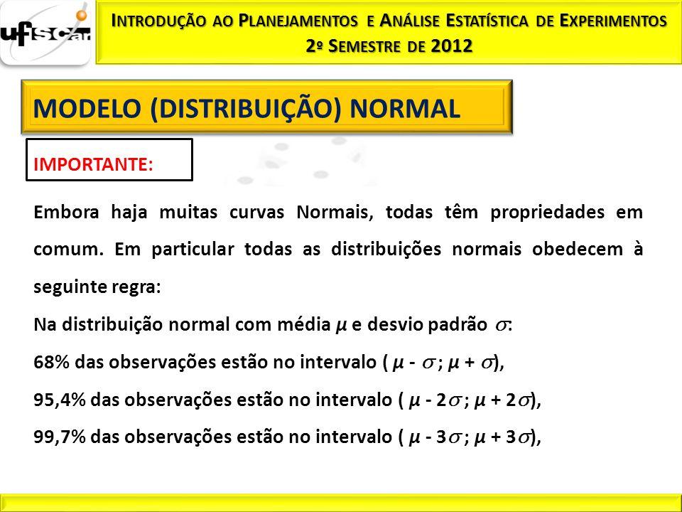 Na distribuição normal com média µ e desvio padrão :